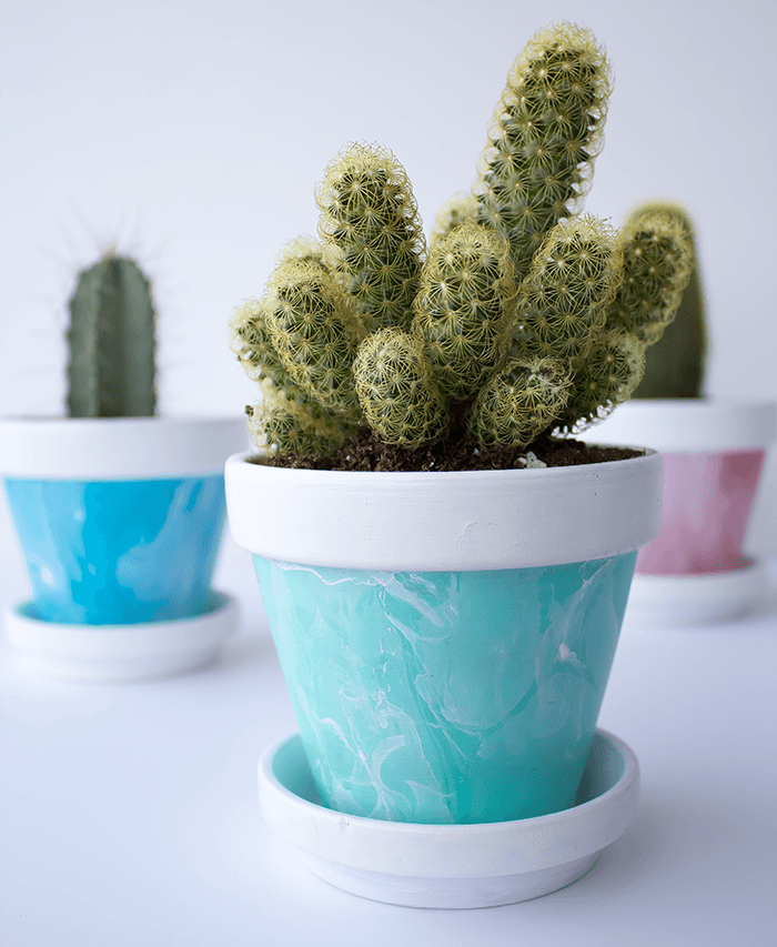 Green Mini Marbled Painted Pot