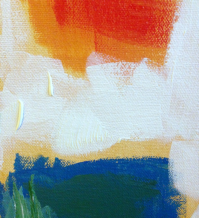 How to create whitewash abstract art - apply white between colour blocks