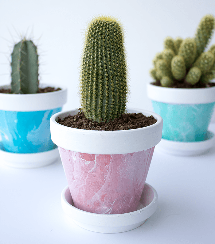 Mini Marbled Painted Pot DIY - Dusty Rose Up Close