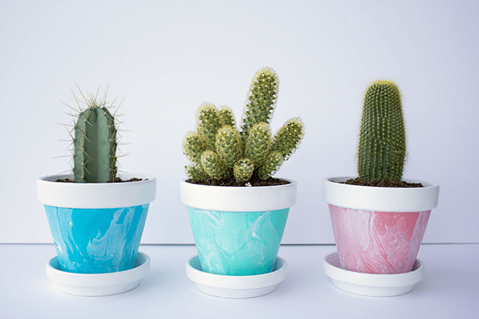 Ducks in a Row - Mini Marbled Painted Pots