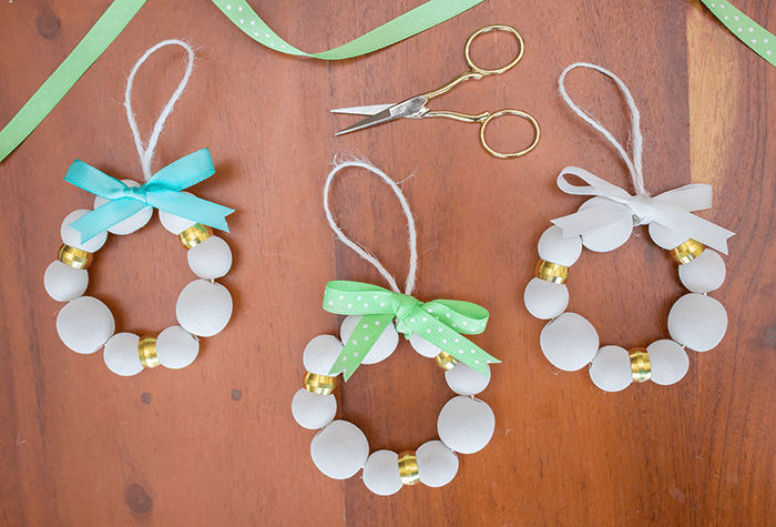 DIY Wood Bead Christmas Ornaments - add ribbon.