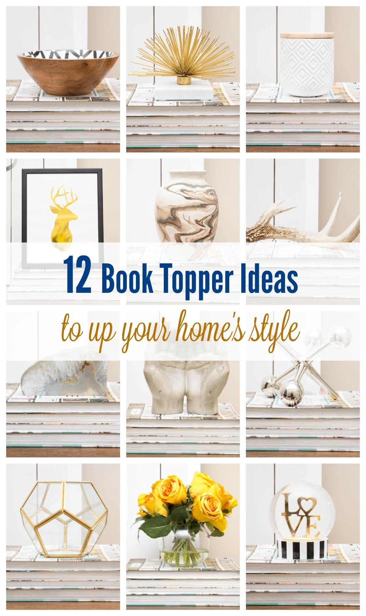 Like trays and risers, books are a great way to showcase your treasured objects in your home. In this post, you'll be inspired to pull out those weird and wonderful accessories you've been storing for far too long, and get decorating!