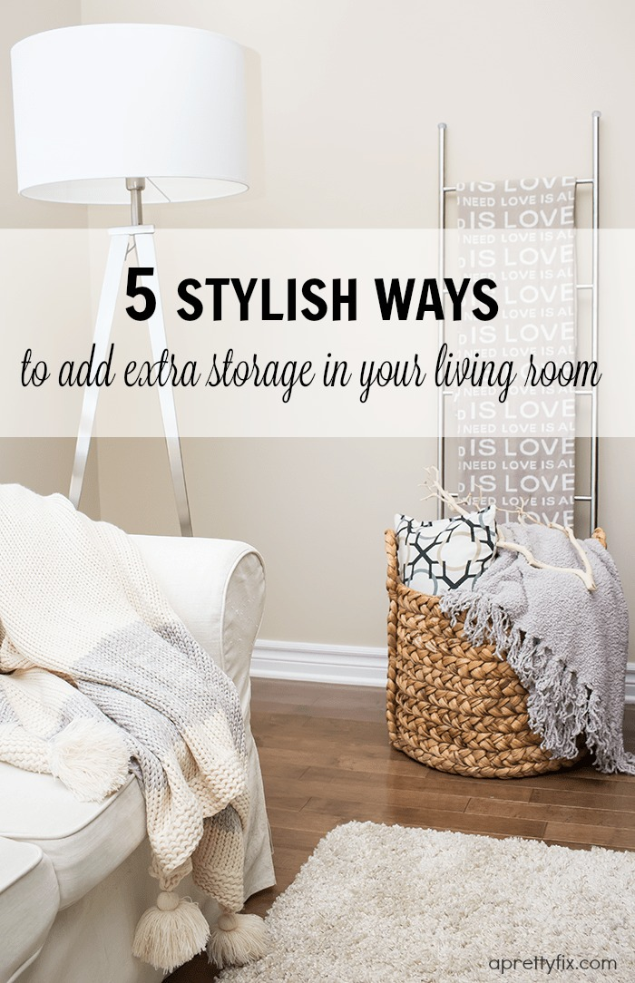 Sometimes, all it takes to tidy your living room is to add a few additional small-storage solutions. A few stylish additions to your space can take your living room for ho-hum to beautifully organized.