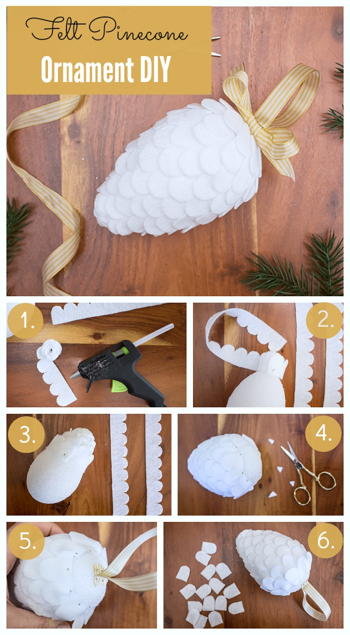 Make this no-sew, super cute DIY felt pinecone ornament in half an hour. A simply beautiful ornament to add to your tree this Christmas.