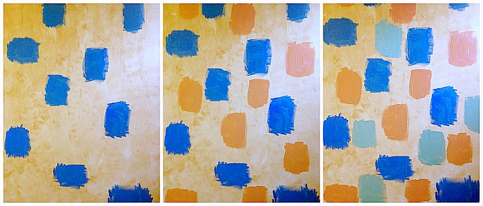How to create whitewash abstract art - apply colour blocks