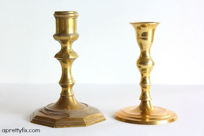 candlesticks - side by side comparison of dirty and cleaned candlesticks