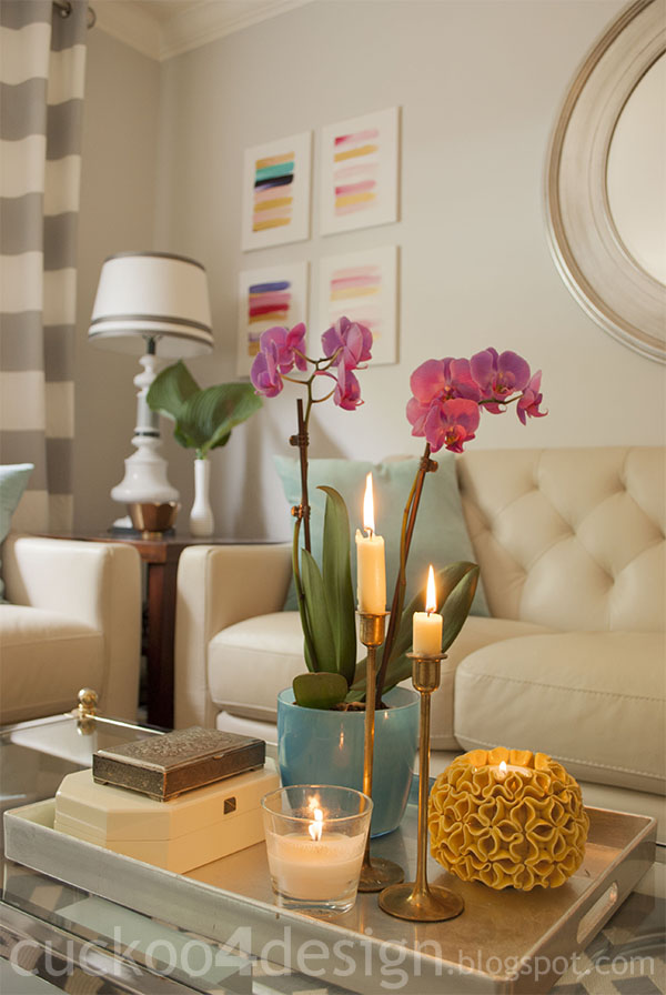 candles create cozy living room