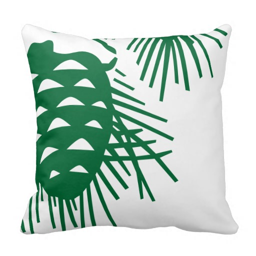 green pinecone pillow