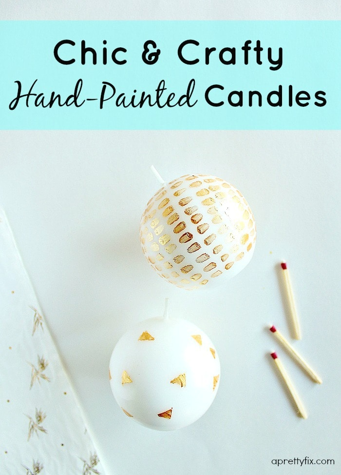 Add a pop of pretty to your home decor with these chic and crafty hand-painted candles. A simple and budget-friendly craft project.