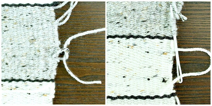 DIY Woven No-Sew Pillow - tie or weave in loose yarn threads.