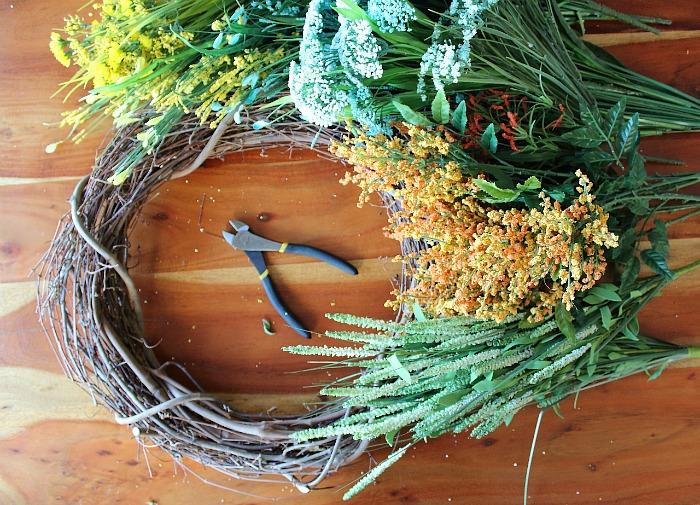Materials Needed: DIY (faux) Wildflower Wreath