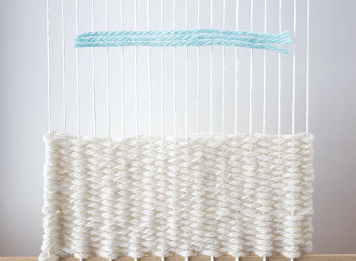 Create rya knots - lay flat - 3 mini weavings.