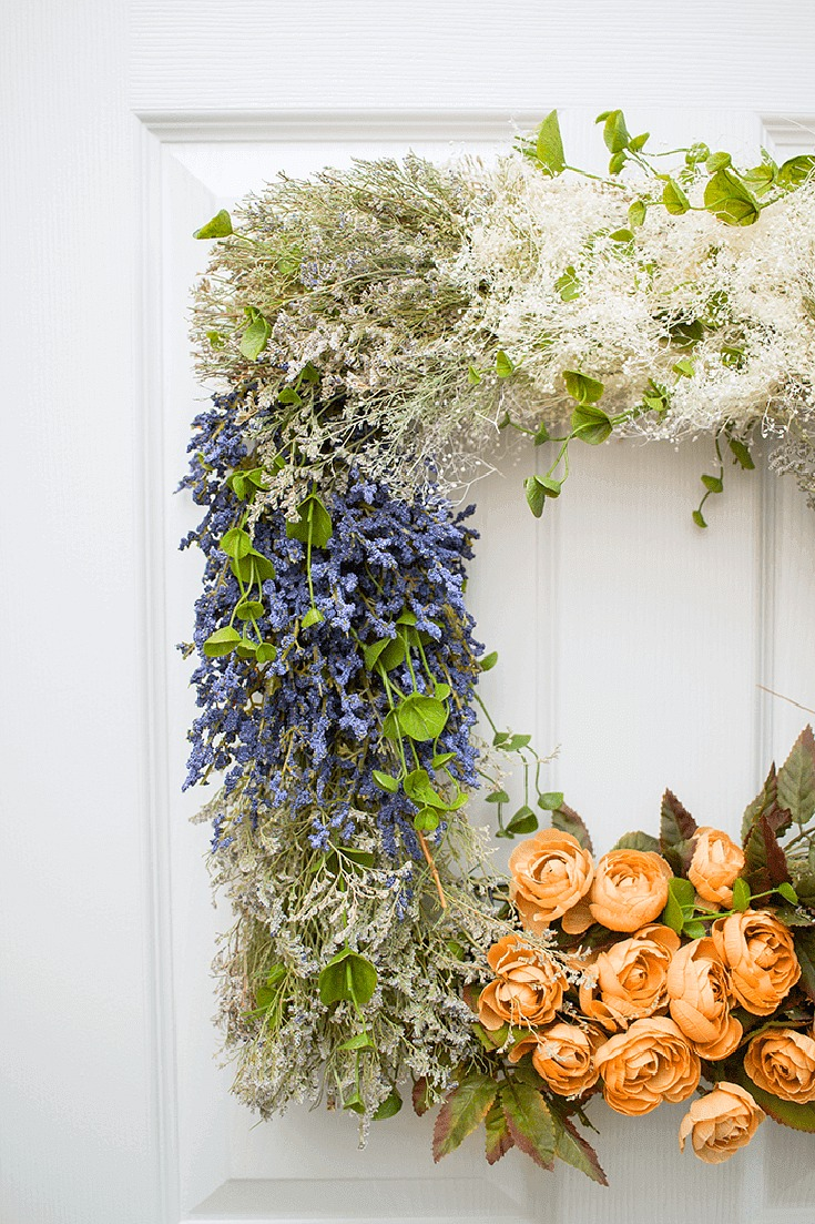 Create a unique statement on your door with this pretty vintage floral wreath.