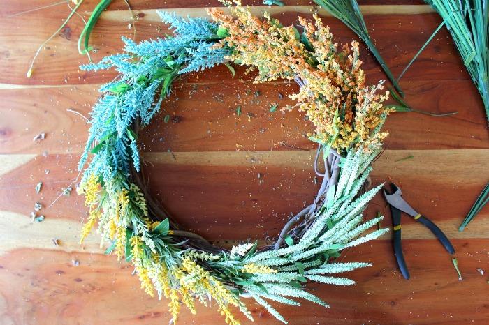 DIY (faux) Wildflower Wreath - in progress
