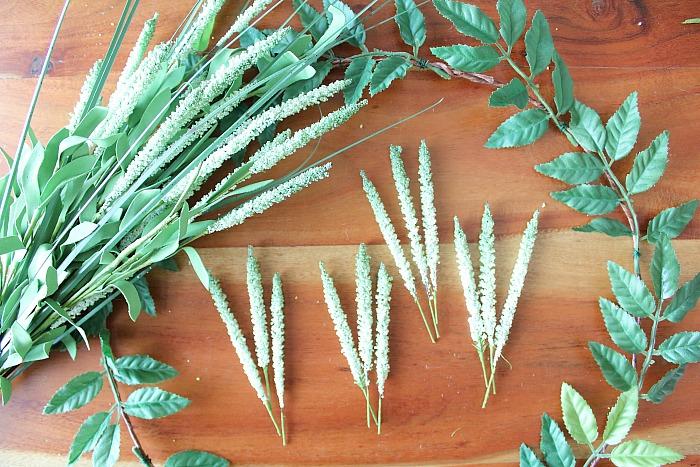 DIY (faux) Wildflower Wreath - clip off soft green bushes