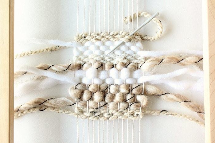 DIY mini framed weaving - weave in back ends.