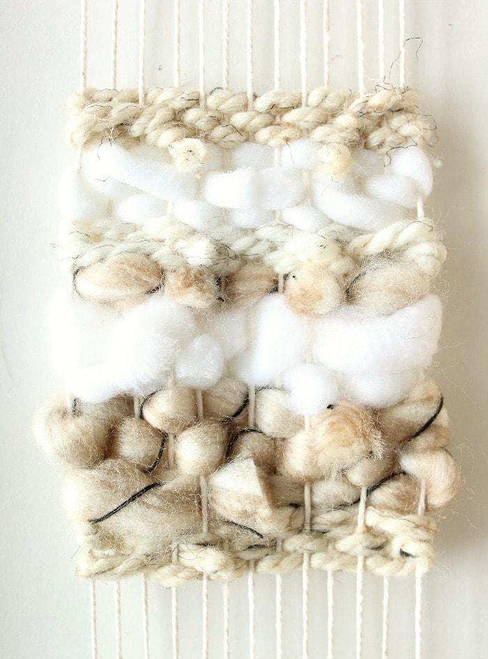 DIY mini framed weaving - snip back ends.