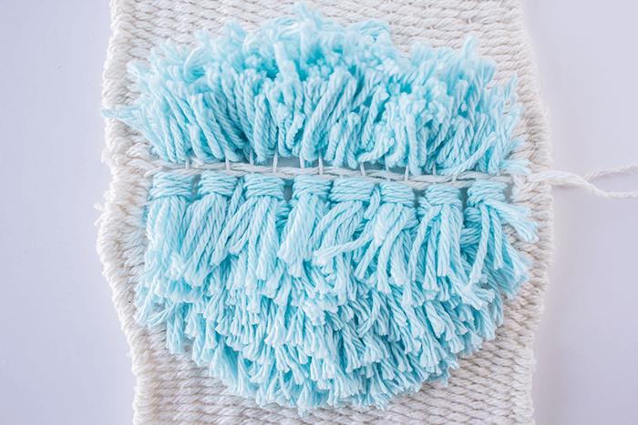 Makes space between rya knot rows - 3 mini weavings.