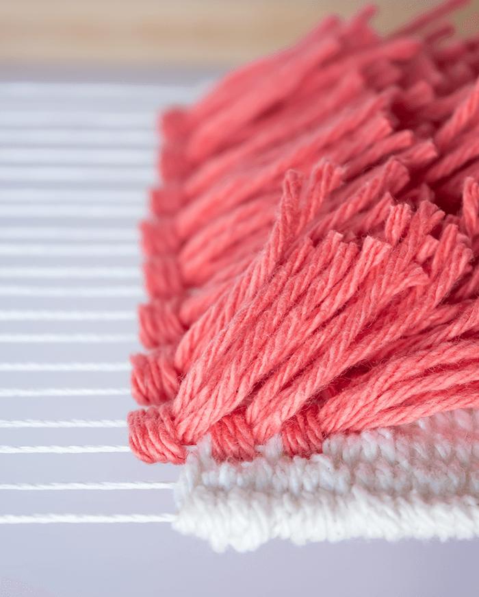 Weave between rya rows - 3 mini weavings.