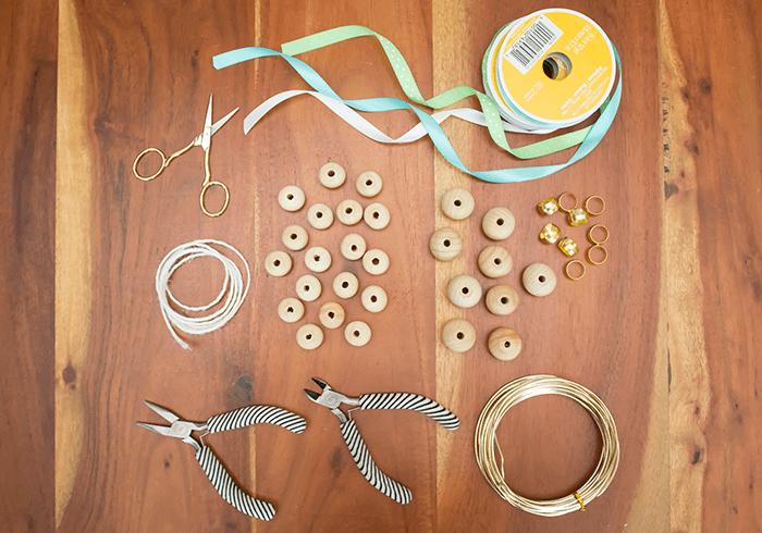 DIY Wood Bead Christmas Ornaments - materials needed.