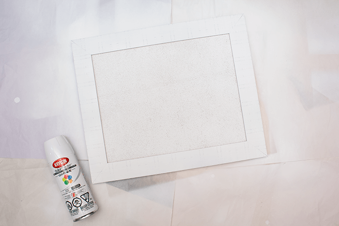 How To Make a Vision Board - spray paint framed cork board in your colour of choice.