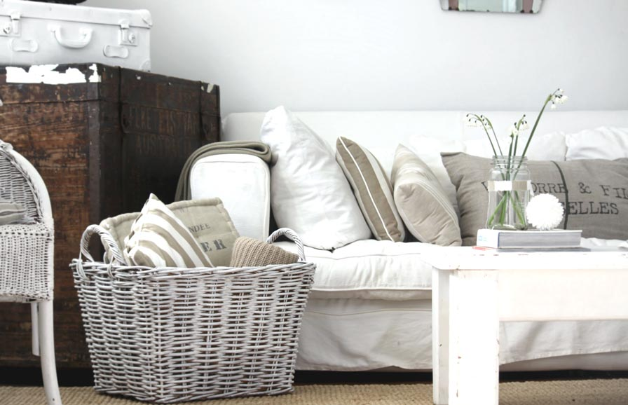 baskets for a cozy living room