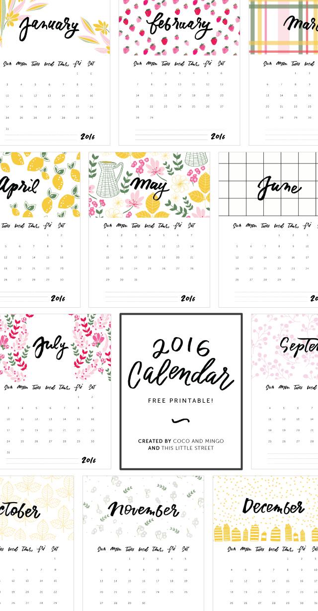 2016 Free Printable Calendar - Coco and Mingo