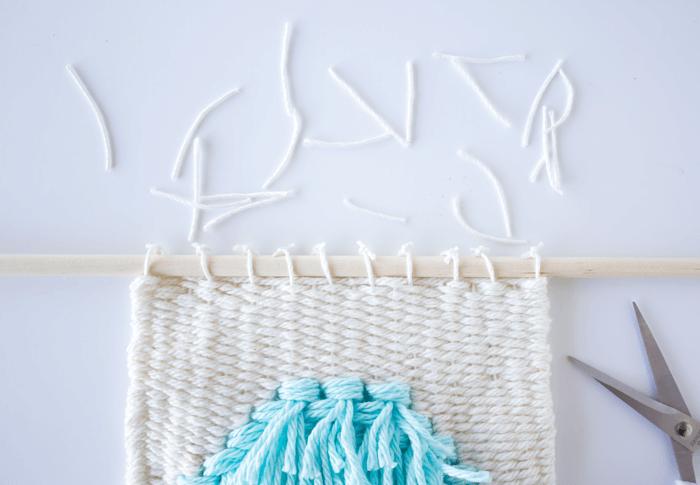Weave dowel through and tie down - 3 Mini Weavings.