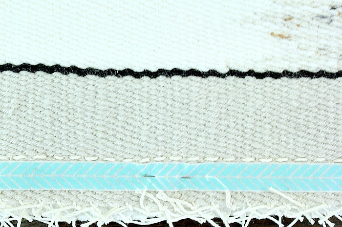 DIY Woven Pillow - begin stitching.