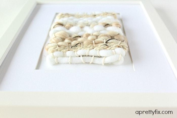 DIY mini framed weaving - Close Up Bottom View.