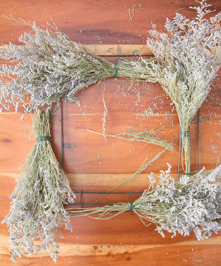 Pretty Vintage Floral Wreath - add florals to each corner