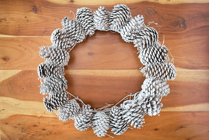 Pretty Pine Cone Wreath - pine cones glued on ring