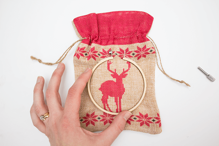 2016 Ornament Exchange - Statement Embroidery Hoop Ornament - outer hoop placement