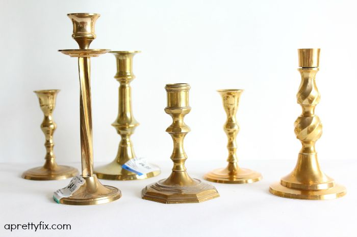 6 thrift store candlesticks.