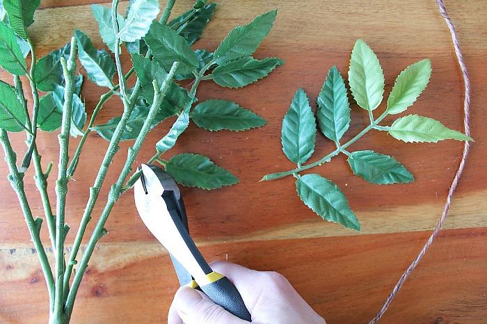 DIY (faux) Wildflower Wreath - clip leaves