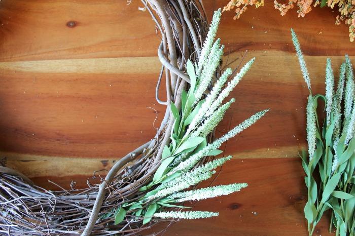 DIY (faux) Wildflower Wreath - Green Stems Inserted