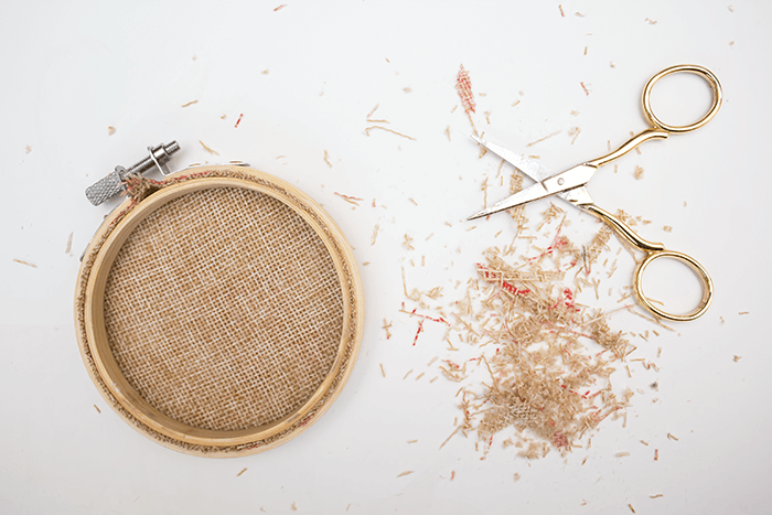2016 Ornament Exchange - Statement Embroidery Hoop Ornament - cut away material
