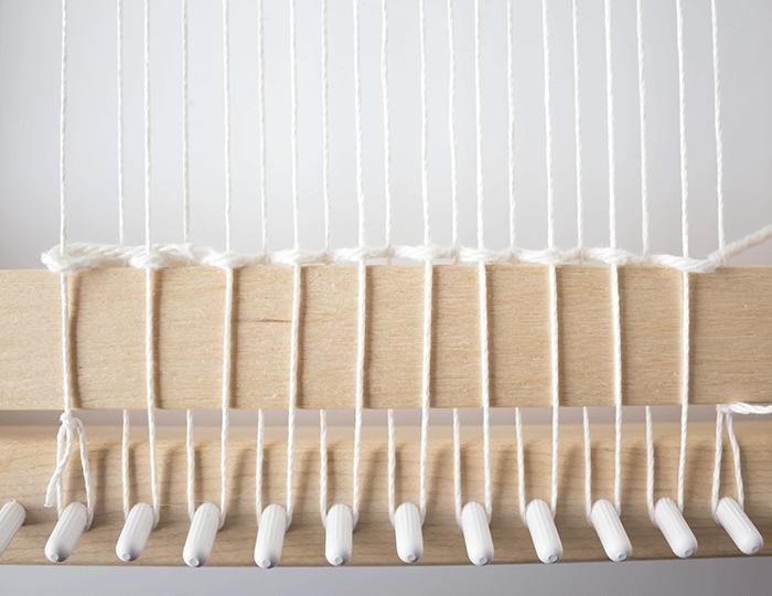 First row of plain weave - 3 mini weavings.