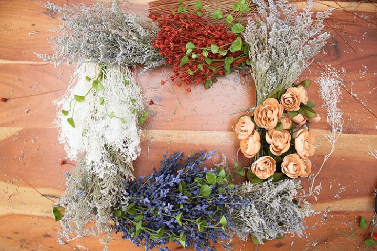 Pretty Vintage Floral Wreath - add bundles around wreath