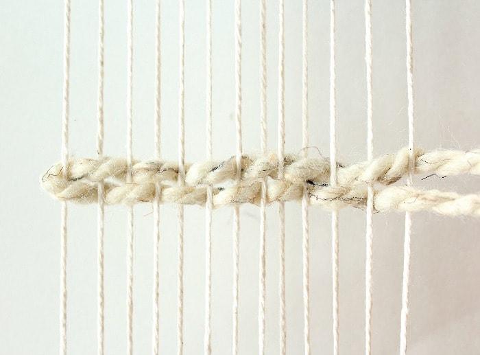 DIY mini framed weaving - creating first rows.