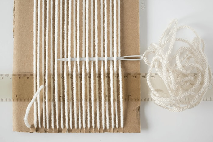 Woven Coaster Craft - First Row of Weaving
