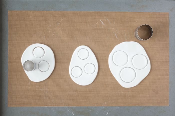 Painted Decorative Clay Wall Hooks - cut out circles.