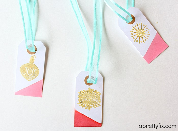 Add ribbon - juice dipped gift tags.