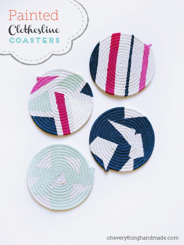 DIY clothesline coasters