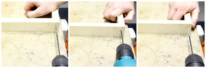 Make a loom - Pre-drill using drill bit.