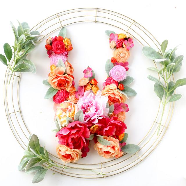 Modern Floral Monogram Wreath DIY