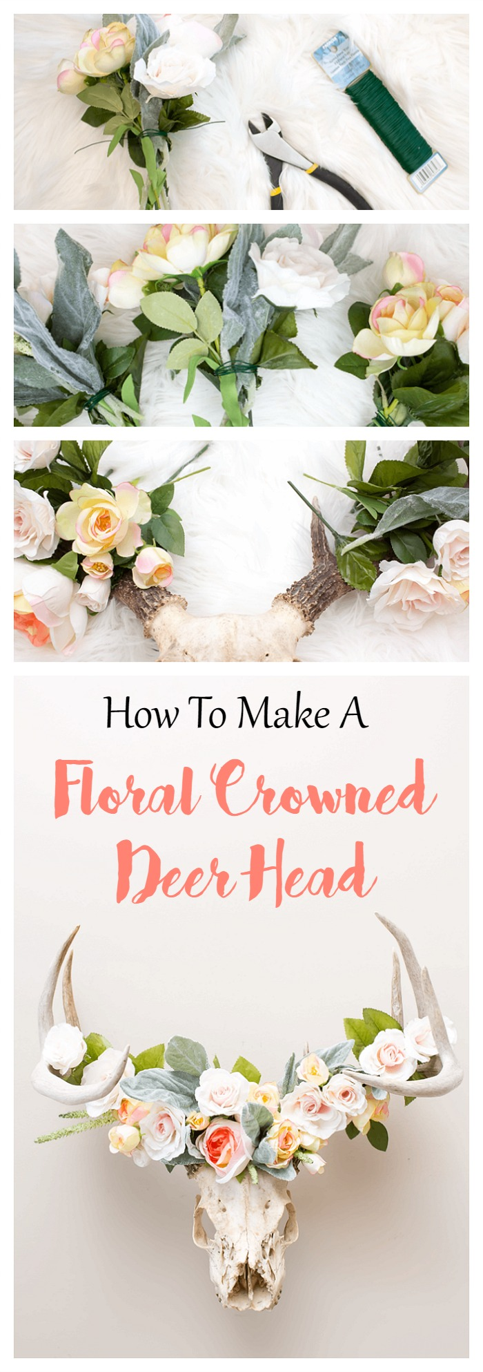 This DIY floral crowned deer head takes just 10 minutes to create. Apply the same method to antlers, gnarly driftwood, decorative branches and any other natural woodland decor.