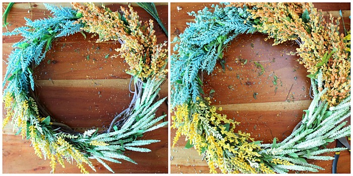 DIY (faux) Wildflower Wreath: before and after
