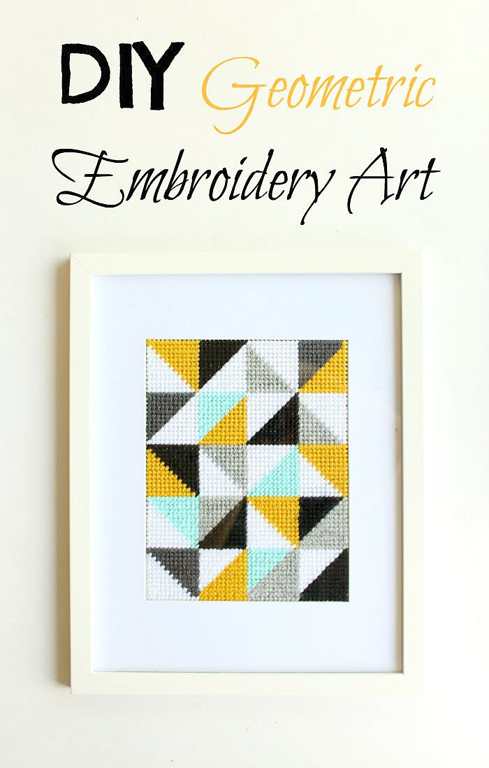 This DIY geometric embroidery art is a fun way to add style and pops of colour to your home. A traditional craft with a modern twist.