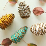 Yarn-Wrapped Pinecones